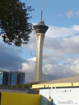 The Stratosphere viewed from Hostel Cat courtyard.