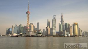 Skyline of Pudong financial district, across the river from Downtown Shanghai.