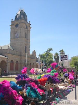 C P Nel Museum, Oudtshoorn: articles for sale made from ostrich feathers