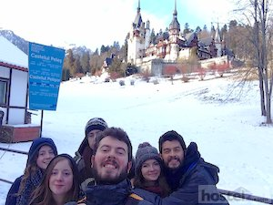 Group selfie in front of Peleş Castle