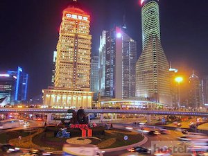 Pudong at night.