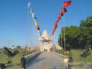 Flags of Turkey in different era seen in Konya