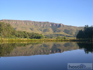 View from Drakensberg International Backpackers: Mount Lebanon reflected in pond near Highmoor