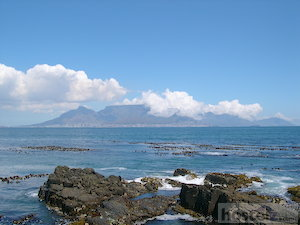Distant view of Cape Town from Robben Island