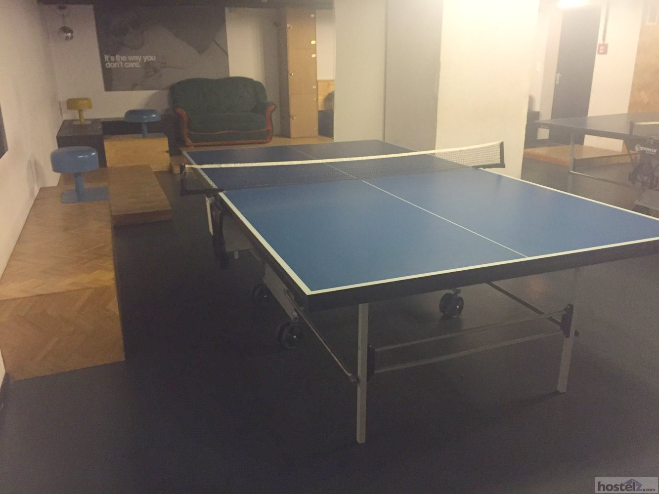 A ping pong table in the recreaction area