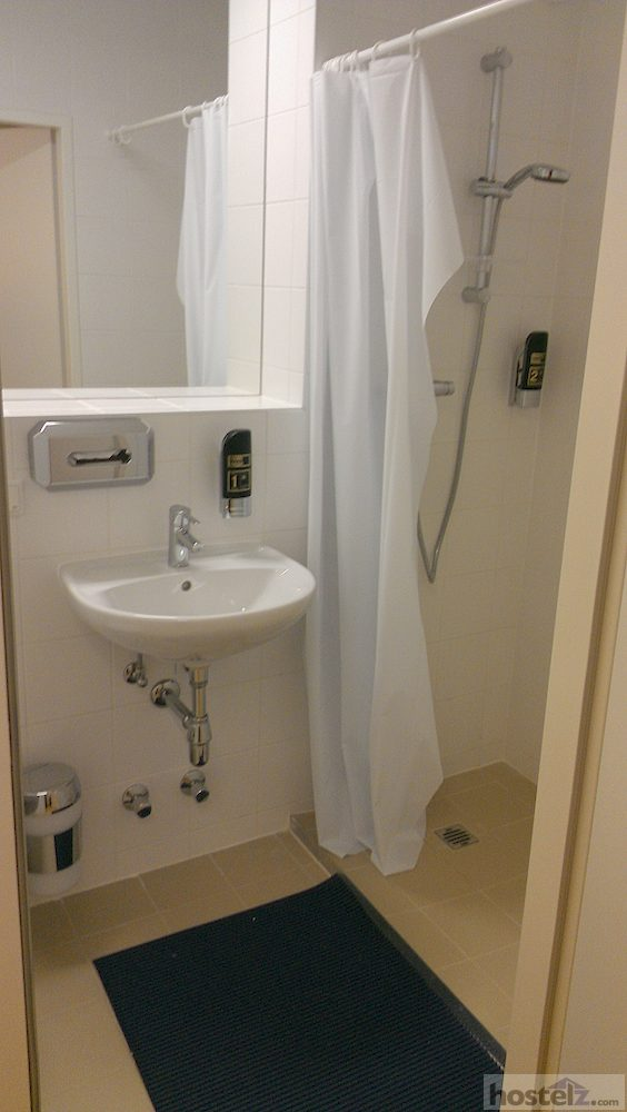Sink and shower in room