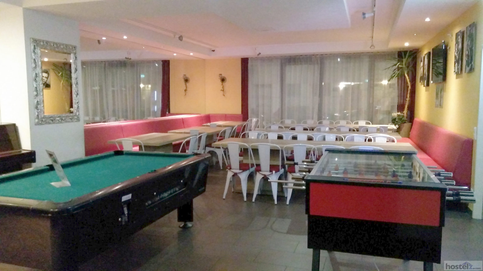 Pool and fuseball tables in common area