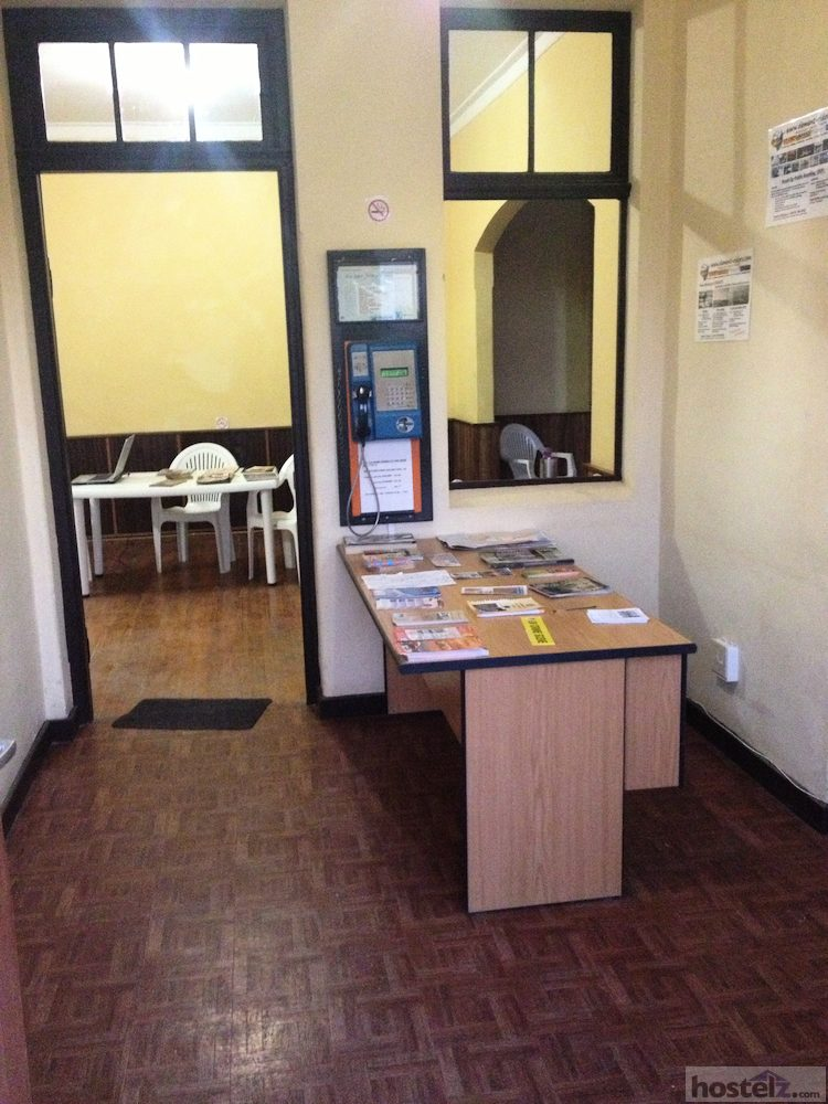 The hostel's reception area